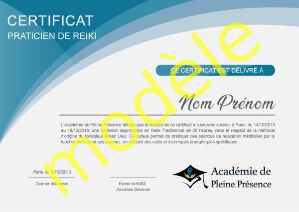Certificat Praticien de Reiki