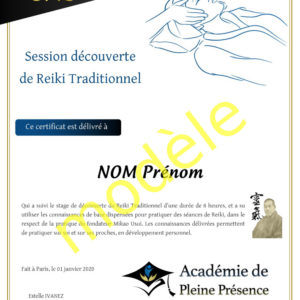 Certificat de réussite : session découverte de Reiki Traditionnel